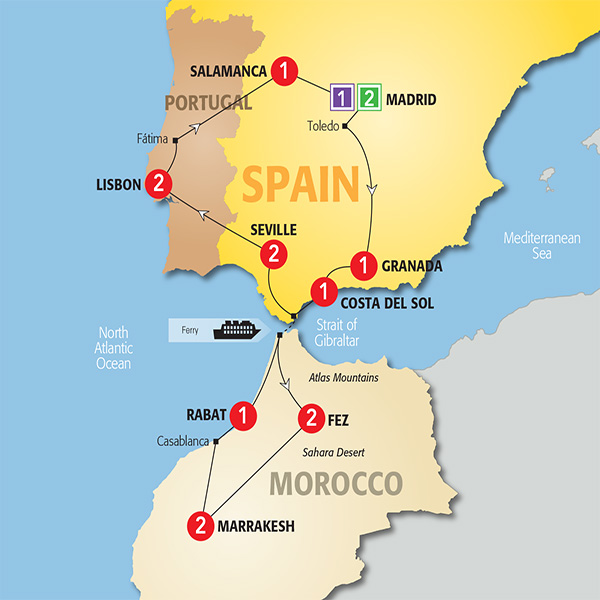 94 ideas world map of spain and usa on christmashappynewyearswnload trafalgar tours 2017 highlights of spain morocco and portugal gumiabroncs Image collections