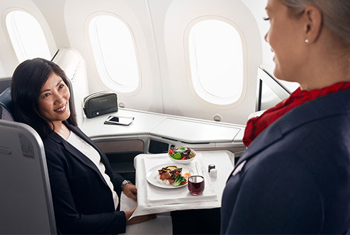 Air Canada Business Class Fine Dining