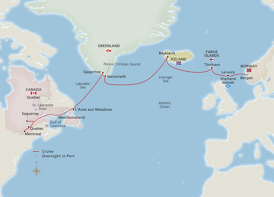In The Wake Of The Vikings | Viking Ocean Cruises Map Of Newfoundland And Iceland on map of newfoundland and prince edward island, map of newfoundland and labrador, map of newfoundland and nova scotia,